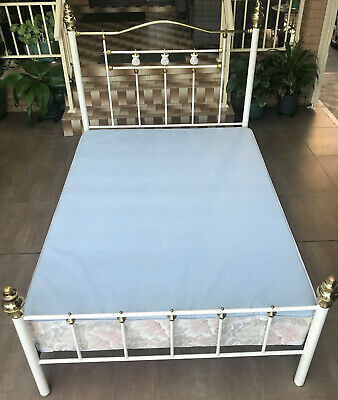 AU70 • Buy Double Bed Ensemble With Brass And Enamel Features - Includes Bed Frame And Base