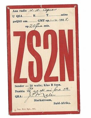 £7.50 • Buy Vintage QSL Radio Communication Card. ZS2N. Sterkstroom, South Africa. 1938.