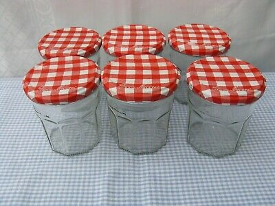 £5.70 • Buy 6 X Bonne Maman Jam Jars - 370 G - Empty, Red Gingham Lids, Glass, Hand Washed