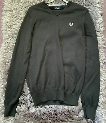 £9.99 • Buy Fred Perry V Neck Jumper Merino Wool / Cotton Mix Black Small Worn Twice