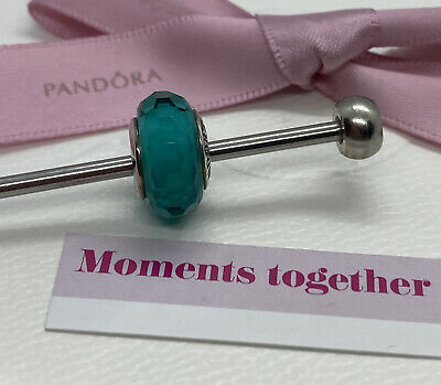 AU48 • Buy Pandora Murano And Sterling Silver Teal Faceted Charm 791606 Retired Genuine