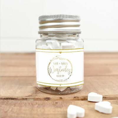£5.97 • Buy Personalised Name Date Wedding Favour Plastic Jars Filled Sweets Chocolate Gift