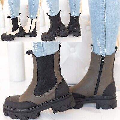 £24.99 • Buy Womens Ladies Flat Chunky Platform Sole Chelsea Slip On Zip Up Ankle Boots Shoes