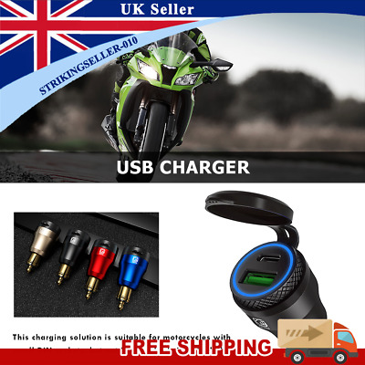 £13.84 • Buy DIN Plug To QC3.0 + PD USB Charger W/ LED Light For Motorcycle (Black+Blue)