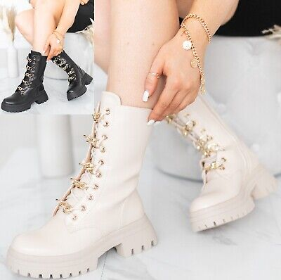 £27.99 • Buy Ladies Womens Chelsea Chunky Sole Platform Fashion Chain Ankle Flat Zip Boots Sz
