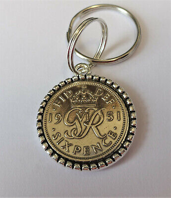 £3.95 • Buy 1951 70th Birthday Lucky Sixpence  Hands Of Friendship Silver Pendant / Keyring