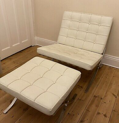 £320 • Buy White Leather Barcelona Chair And Stool