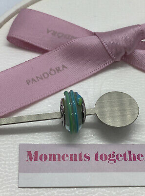 AU29 • Buy Pandora Green Teal Ribbon Murano Glass Charm 790606 Retired Authentic Ale 925