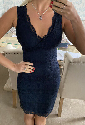 £19.99 • Buy Lipsy Navy Blue Lace All Over Bodycon Dress Size 6 New With Tags