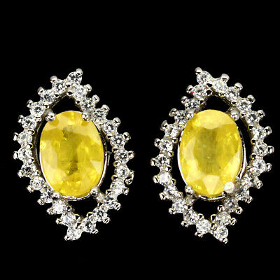 AU1.68 • Buy Oval Yellow Sapphire 7x5mm Cz 14K White Gold Plate 925 Sterling Silver Earrings