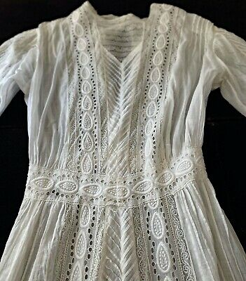 £102.77 • Buy Antique Edwardian Day Dress Lace Broderie Anglaise Insertions Pinch Pleats WW704