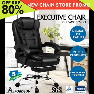 AU174.79 • Buy ALFORDSON Office Chair Gaming Executive Computer Racer Footrest PU Leather Seat