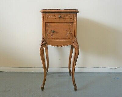 £149.50 • Buy Carved French Antique Bedside Table Cupboard Cabinet With Marble Top