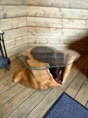 £600 • Buy Unique Coffee Table Made From A Hollow Sycamore Tree With Glass Top