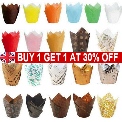 £3.09 • Buy 50Pcs Tulip Muffin Cases Cupcake/muffin Wraps Multiple Colours Wrapper Sets