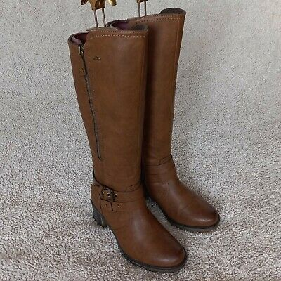 £25 • Buy Pavers 'Relife' Tan Faux Leather Knee High Boots Size UK 4