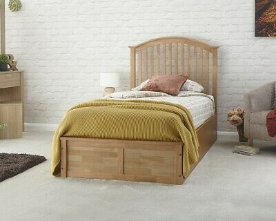 £41 • Buy 3FT Single Curved Spindled Headboard Oak Wooden Ottoman Bed 99p No Reserve