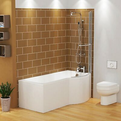 £204.99 • Buy 1600mm P Shaped Right Hand Shower Bath Front & End Panel With Rail Screen