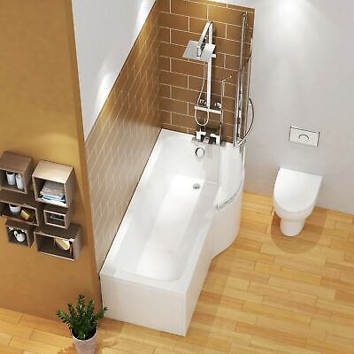 £345.99 • Buy 1600mm P Shaped Right Hand Shower Bath Front & End Panel With Rail Screen