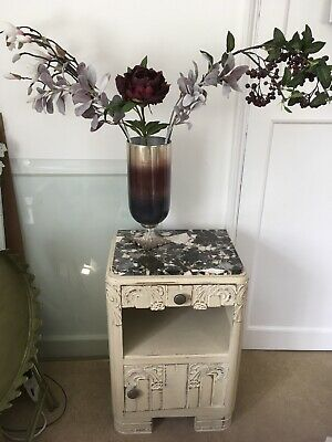 £95 • Buy Very Handsome Antique Deco Bedside Table Pot Cupboard With Marble Top