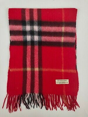 £84.99 • Buy Burberry Genuine Vintage 100% Cashmere Giant Check Red Winter Scarves Scarf