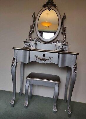 £84.99 • Buy Dunelm Toulouse Dressing Table Mirror Stool Set Silver Collect Cash Only DN21 3