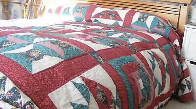 £45 • Buy Vintage Patchwork Quilt King Sized Cotton Quilt Handmade