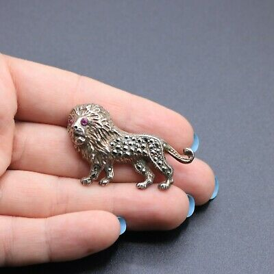 £5.19 • Buy Sterling Silver 925 And Marcasite Hallmarked 1987 Novelty Lion Brooch 11.6g