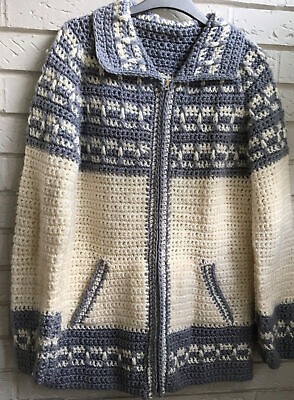 """£17 • Buy VINTAGE HAND KNIT PATTERNED CARDIGAN ZIP FRONT Size M/LG 40""""Chest"""