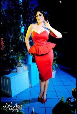 AU147.15 • Buy Pinup Girl Clothing DEADLY DAMES MAN TRAP DRESS IN RED SATINE WITH PEPLUM S EUC