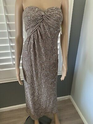 £0.73 • Buy MORGAN & CO Womens Size 7/8 Brown Sequined Sweetheart Strapless Prom Maxi Dress