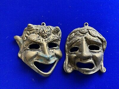 £15 • Buy Vintage Brass Comedy Tragedy Greek Theatrical Masks Wall Hangings