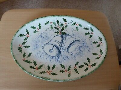 £4.99 • Buy Christmas Turkey Meat Serving Large Oval Plate Platter Hand Madre & Decorated