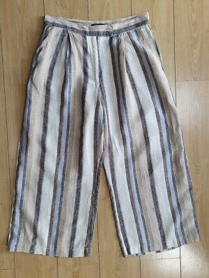 £4.99 • Buy M&S Collection 100% Linen Striped Cropped Trousers Size 8