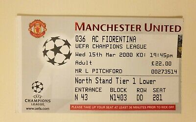£1 • Buy Manchester Utd V Fiorentina - Champions League - 15th March 2000 - Match Ticket