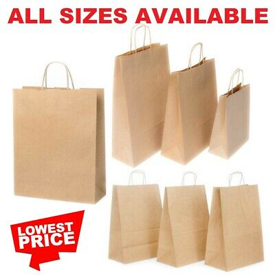 £1.49 • Buy Brown Paper Bags With Handles Large Small 100 50 10 Party Gift Sweet Carrier Sos