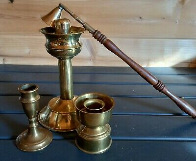 £8.50 • Buy Set Of 3 Brass Candlesticks H=3,4and 7 Inch With Candle Snuffer