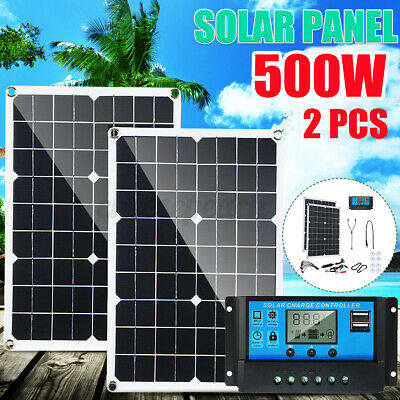 £47.99 • Buy 500W (2*250W) Solar Panel Kit Battery Charger Controller F/ Caravan Boat Outdoor