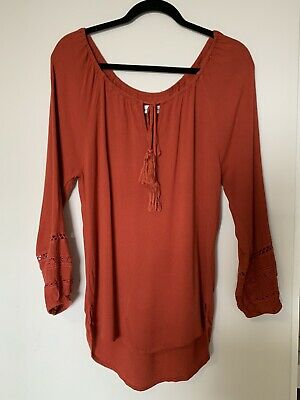 AU25 • Buy Arnhem Rust Cheesecloth Embroidered Top 8