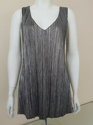 £6 • Buy M&Co Sparkly Silver Sleeveless Party Top Size 18