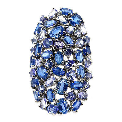 £3.99 • Buy Real Unheated Oval Blue Kyanite Sapphire Tanzanite 925 Silver Big Ring Size 9.5