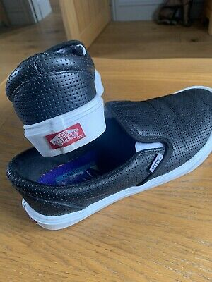 £10 • Buy Black Classic Perforated Leather Slip On Vans Size 7.5