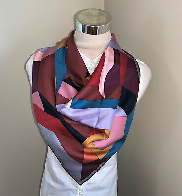 View Details Hermes Silk Scarf PERSPECTIVE CAVALIERE Carre 90 Orange Blue Red • 299$