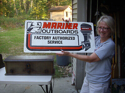 £71.79 • Buy Vintage MARINER OUTBOARDS Motor FACTORY AUTHORIZED SERVICE TIN SIGN 32  X 15