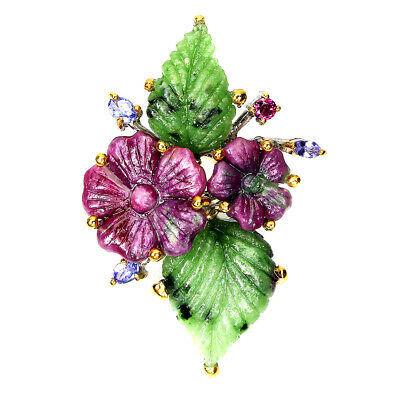 £5.44 • Buy Amazing AAA Hand Flower Carving Red Ruby Zoisite Tanzanite 925 Silver Ring Sz 7