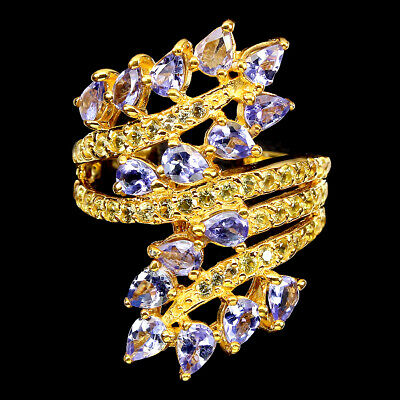 £0.72 • Buy Unheated Pear Tanzanite 4x3mm Yellow Sapphire 925 Sterling Silver Ring Size 8