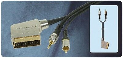 £4.95 • Buy High Quality Switched Scart To 3.5mm Stereo Jack & RCA Phono AV Lead 107.855
