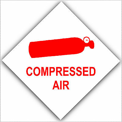 6 Compressed Air-Health & Safety Warning Stickers-Cannister/Bottle Caution Signs • 3.49£