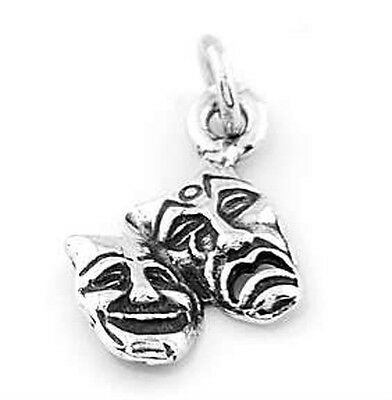 £7.28 • Buy Sterling Silver Comedy Tragedy Drama Mask Charm/ Pendant