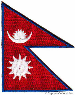 NEPAL FLAG Embroidered Iron-on PATCH NEPALI NEPALESE • 3.57£